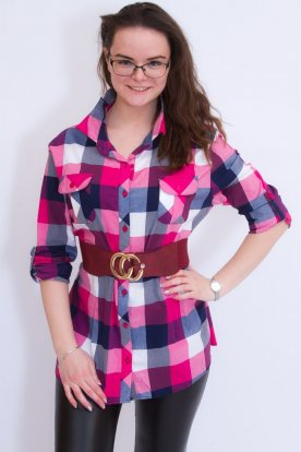 Divatos női nagy méretű kockás ing