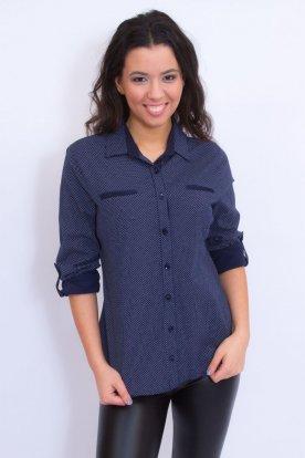 CATANIA divatos nagy méretű apró pöttyös roll up ujjú női ing