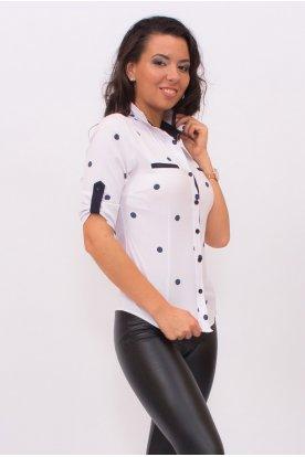 CATANIA divatos kis méretű női fehér alapon nagy kék pöttyös rövid ujjú ing