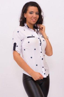 CATANIA női divatos nagy méretű fehér alapon sötétkék nagy pöttyös