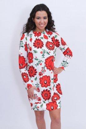Alkalmi kalocsai mintás divatos női ruha fodros nyakrésszel