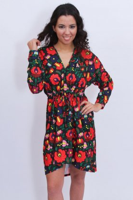 Alkalmi kalocsai mintás derékban megköthető női mini ruha