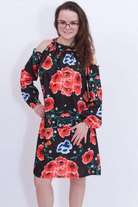 Alkalmi kalocsai mintás vállán kivágott divatos női ruha