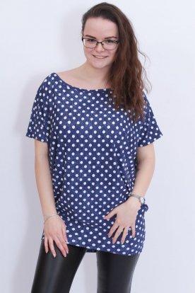 RUCY FASHION divatos női pöttyös mintázattal díszített bő szabású felső