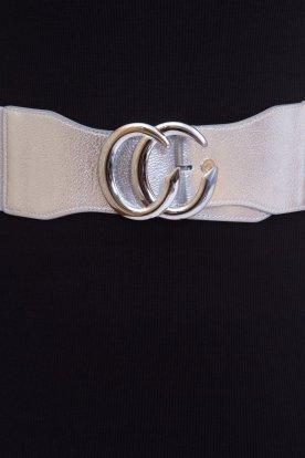 CC divatos női gumis öv ezüst fémcsattal