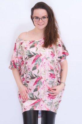 RUCY FASHION divatos női bő szabású mintás rövid ujjú felső