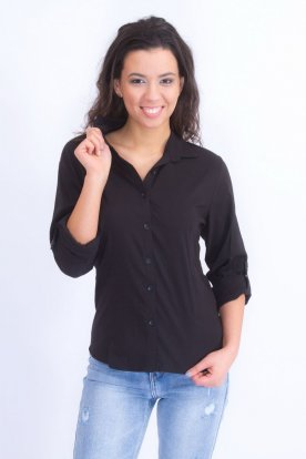 CATANIA fekete női nagy méretű roll up-os ujjú ing
