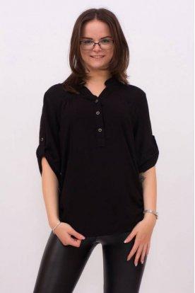 CATANIA divatos női extra nagy méretű fekete ingblúz