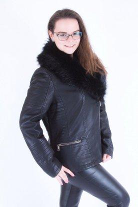 NATURE divatos műszőrmés fekete bőrkabát