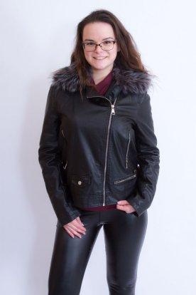 NATURE divatos női bélelt műszőrmés bőrkabát