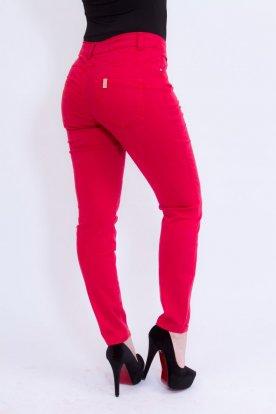 MISS BONBON divatos női szűk szárú piros farmernadrág