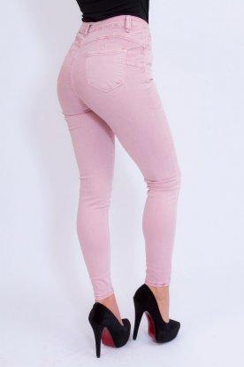 MISS BONBON divatos push up-os púder színű nadrág