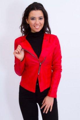 Elegáns női piros blézer cipzárral
