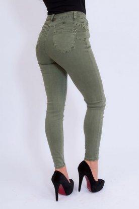 MISS BONBON divatos szexi push up-os khaki színű farmer nadrág