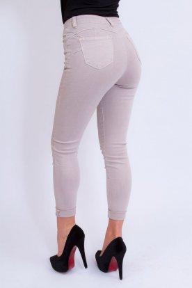 MISS BONBON divatos szexi push up-os bézs színű farmer nadrág