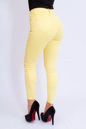 MISS BONBON divatos szexi push up-os sárga színű farmer nadrág