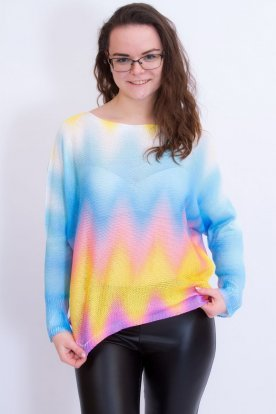 Divatos szivárvány színeit megörökítő női bő szabású kötött felső