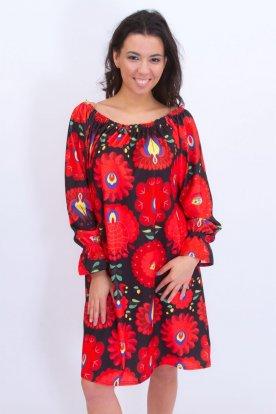 Alkalmi kalocsai mintás divatos női nagy méretű mini ruha