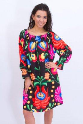 Alkalmi női nagy méretű kalocsai mintás bő szabású ruha