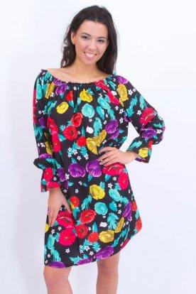 Alkalmi gumis vállú női nagy méretű virág mintás ruha