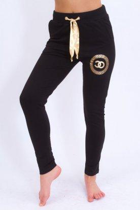 Sportos női fekete szabadidő nadrág arany mintával