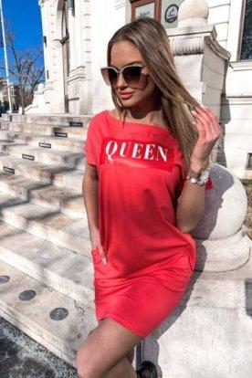 VICTORIA MODA divatos női bő szabású QUEEN feliratos póló ruha