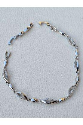 Elegáns ezüst színű köves női karkötő