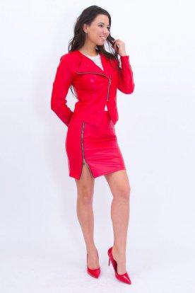 Elegáns női piros bőr hatású szett cipzáros szoknyával