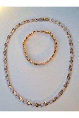 Elegáns női aranyozott ezüst csillámmal díszített női karkötő és nyaklánc szett