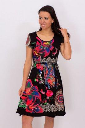 Elegáns női deréknál megköthetős egyedi tervezésű tavaszi mini ruha