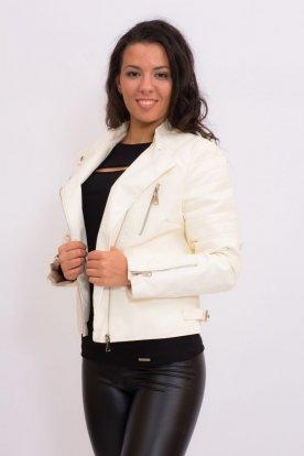 Divatos női rövid derekú fehér műbőr kabát