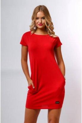 VICTORIA MODA divatos női lezser egyszínű mini ruha