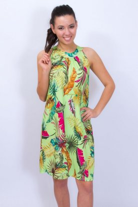 Divatos egyedi tervezésű nyaknál megköthetős dzsungel mintás női mini ruha