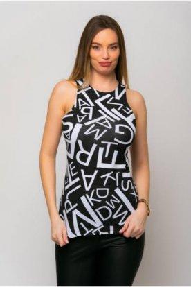 VICTORIA MODA divatos grafikával díszített női ujjatlan felső
