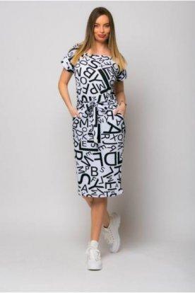 VICTORIA MODA egyedi grafikával készített női divatos rövid ujjú midi ruha