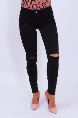 REDRESS divatos fekete szaggatott női farmernadrág