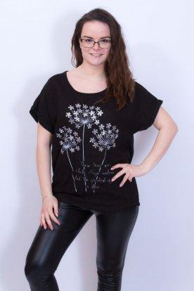 Divatos női ezüst virágmintás feliratos női fekete oldalt megköthető póló