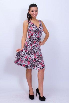 Női divatos anyagában apró virág mintás ujjatlan fodros mini ruha