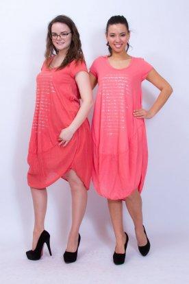 Női divatos elülső oldalán feliratos rövid ujjú midi ruha