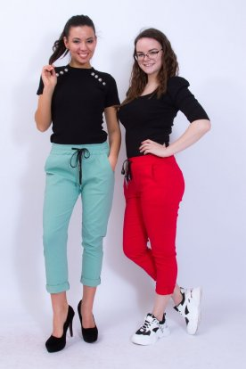 Stílusos alján felhajthatós egyszínű női nadrág