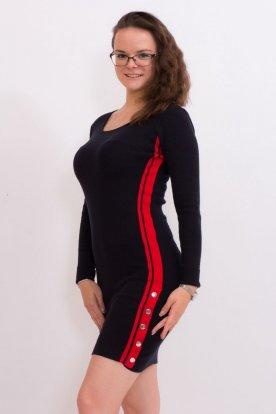 Divatos női kötött hosszú ujjas mini ruha alján két oldalt gombokkal díszítve