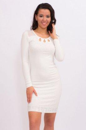 Fehér alkalmi köves kötött tüll betétes mini ruha