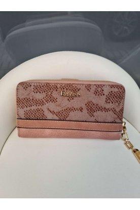 Púder színű mintás női divatos pénztárca