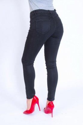Divatos szexi női bőrhatú fekete színű farmernadrág