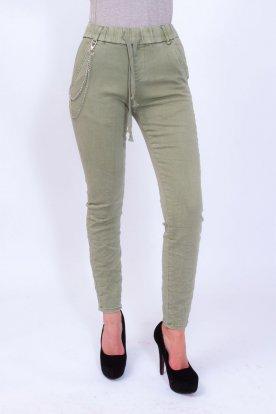 RE DRESS női gumis derekú khaki színű farmernadrág lánccal