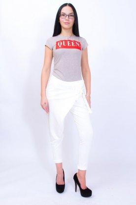 Divatos női fehér színű elöl átlapolt hosszú szárú nadrág