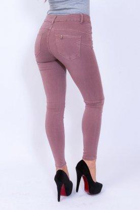 MISS BONBON divatos szexi női mályva színű push up-os farmernadrág