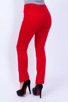 Divatos női piros színű egyenes szárú nadrág