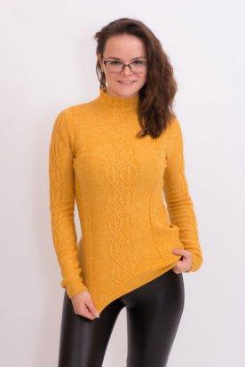 Divatos meleg garbós női kötött hosszú ujjú pulóver