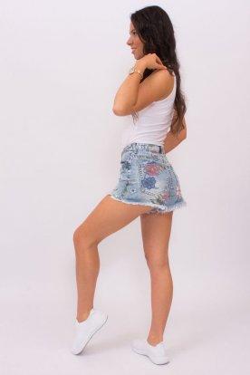 MISS BONBON divatos szexi vilagoskék virágmintás női farmer rövidnadrág